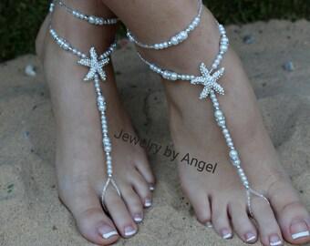 Starfish Pearl Rhinestone Bridal Barefoot Sandal & Anklet Set Wedding Foot Jewelry