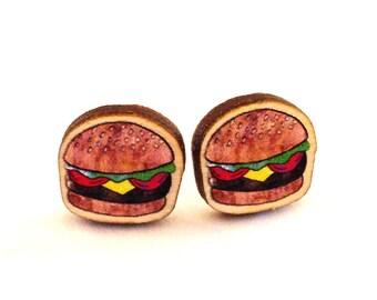 Burger Earrings - 10mm Studs