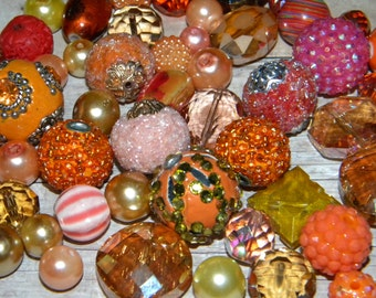 NEW 20pcs Oranges Mixed Jesse James AND Large Loose beads Random Mix Bag of different sizes & shapes
