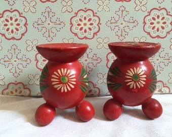 Vintage Wooden Red Candle Stick Holders