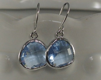 Sky Blue Glass Drop Earrings Made with White Gold.
