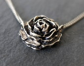 Silver Rose Necklace, Silver Rose Pendant, Roses Necklace, Oxidised Rose Necklace, Antique Rose Necklace, Rose Jewellery, Valentines Gift