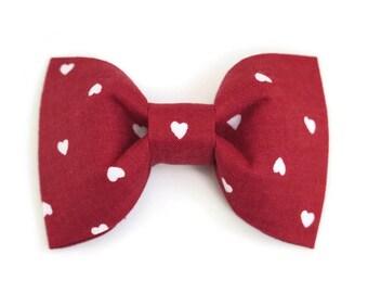 Valentines Day Bow Tie, Boys Bow Tie on Alligator Clip, Heart Bow Tie, Maroon Bow Tie, Toddler Boy Bow Tie, Baby Bowtie