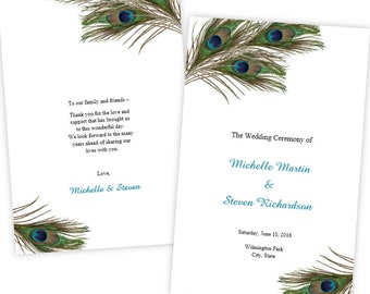 Folded Wedding Program Template - Peacock Feathers - DIY Printable Template - Instant Download - Microsoft Word File - Printable