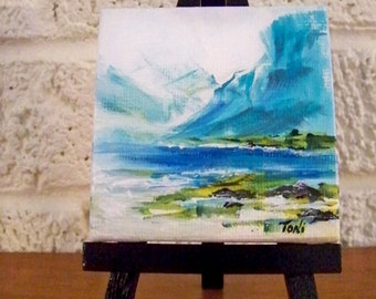 Miniature Abstract Landscape Painting