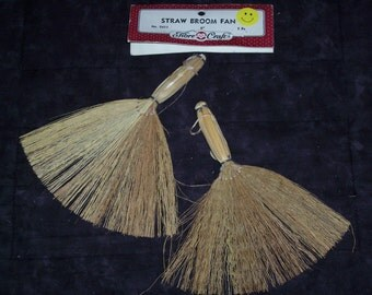 mini straw broom,6 inch tall,package of 2,Fibre-craft,crafting,primitive,rustic