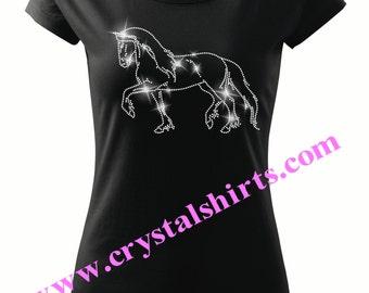 Friesian Horse Rhinestone , bling T-shirt