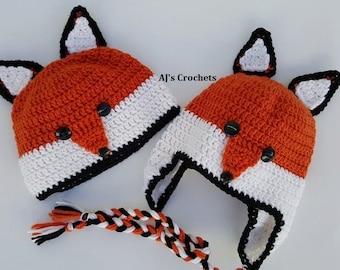 Fox Hat, Animal Hat, Fox Crochet Hat, Crochet Hat, Crochet Animal Hat, TULA Hat, TULA Fox Hat