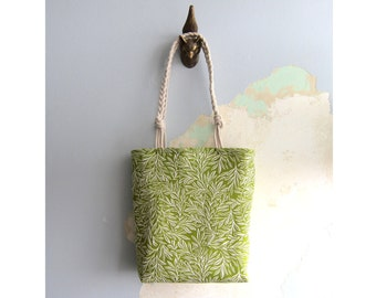 Green & cream tote bag and matching pouch - set of 2 pieces