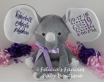 Personalized Elephant Birth Announcement, Elephant Baby Gift Personalized, Embroidered Plush Elephant Stuffed Animal