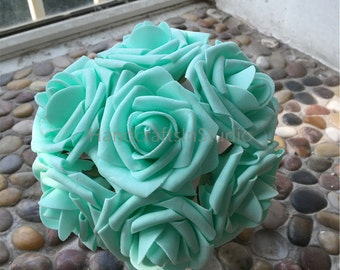 Pool Blue Flowers Deep Mint Fake Roses Wedding Flowers 8cm Wholesale Flowers For Wedding Table Centerpiece Bridal Bouquets