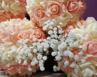 "9"" Blush Kissing Balls Pomanders For Blush Beige Ivory Flower Balls Wedding Centerpieces Decor Bridal Shower"
