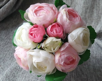 Cream White Pink Silk Peony Bouquet Artificial Camellia Flower Bouquet For Bridesmaids Bouquets