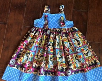 Wonder Woman dress - Super Hero Dress - Girls Knot dress - Girls Superhero dress - Toddler Dress - Summer dress - Sun Dress - Theme Dress