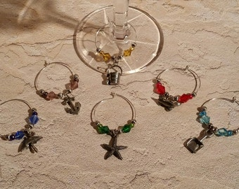 Wine Charms - Set of 6 Beach Theme - WC-005