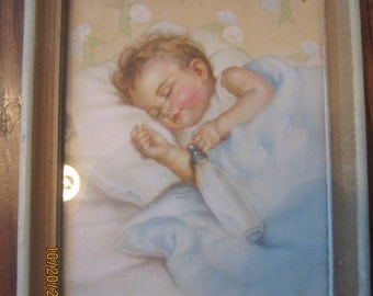 Sweet Dreams Charlotte Becker Print Sleeping Baby with Bottle Framed