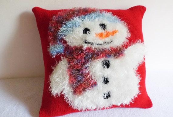 Snowman Cushion Knitting Pattern : Christmas Snowman Knit Pillow Case Hand Knit Throw Pillow
