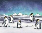 Penguin Croquet  - Emperor Penguin Art - Giclee Print - Penguin Watercolor - 8x10