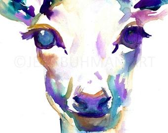 Deer Watercolor, 18 x 24 Deer Painting, Watercolor Deer Print, Watercolor Deer, Watercolor Animal, Deer Painting, Deer Poster