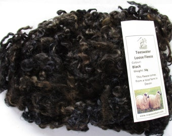 Teeswater Loose Black/Brown for Spinning and Crafts 50g