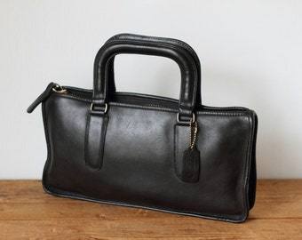 COACH Bonnie Cashin Briefcase Style Handbag Purse/ 1970s Rare NYC Vintage Coach Clutch with Handles/ Black Leather Slim Handbag