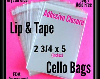 100 ( 2 3/4 x 5 in ) Lip & Tape Cello Bags .. Adhesive Strip / Self Sealing Cello Bags