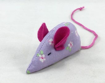 Mouse Cat Toy, Lavender and hot pink Cat toy, kitten toy, lavender pink