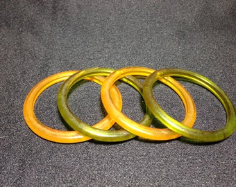 Vintage late 1930's Transulent Lucite Bangles (ABX1H)