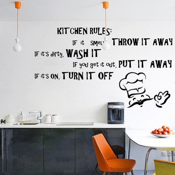 Vinyl wall decal quotes kitchen rules inspirational text art for Fun sayings for dining room wall art