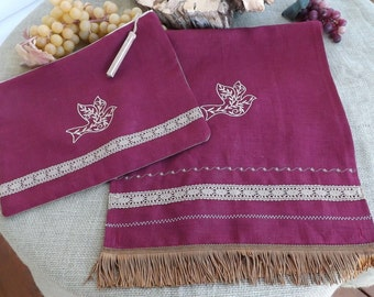 Wine of Cana 100% Linen Shawl, Scarf Head Cover with Matching Ribbon, Tassel Trim, Decorative Stitching and Two Embroideries