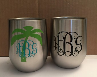 monogrammed double wall stainless steel Insulated wine glass