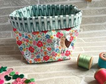 Jewellery Storage, Fabric Basket, Bedroom Storage, Freehand Machine Embroidery Design, Brown Bird, Cath Kidston Fabric, Gift Basket