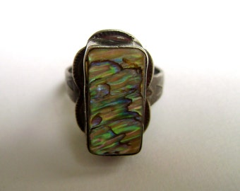 old sterling abalone ring, size 6.5
