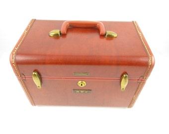 Vintage Samsonite Traincase - Cinnamon Brown - Overnighter - Brass Trim - Traincase - Cosmetic Case - Chic Travel - Handy and Useful