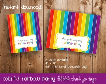 Rainbow Party Thank You Tags | Thank You Tags for Rainbow Birthday Party