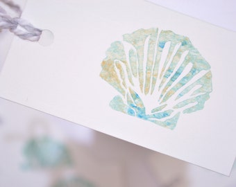 Shell Gift Tags - Pack of 6, Hand-Stamped Tags