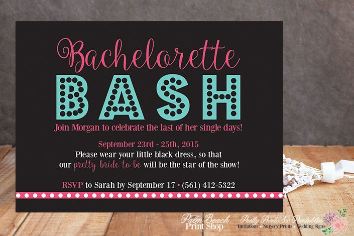 bachelorette party invitations matching itinerary, Party invitations