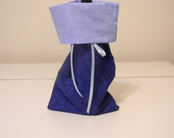 Gift Bag - Wine bottle gift bag - blue fabric with light blue lining