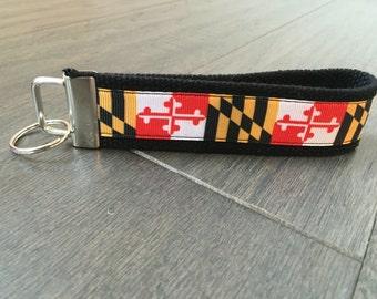 Maryland flag keyfob keychain wristlet