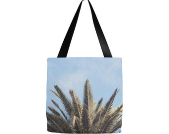 Palm Tree tote bag, california tote, Grocery sack, teacher tote, gym bag, beach bag, yoga gear, diaper bag, mothers day gifts, birthday, Mom