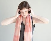 SALE Smoked Pink Cotton Gauze Scarf, Hand Screen Printed Pastel Blush Shawl Wrap - Women Accessories - Gift for Her -  Valentines Day