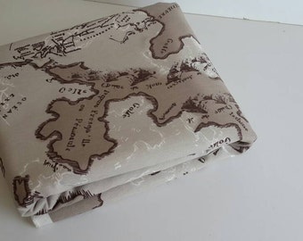 Wholesale map fabric -Maps print , - fabric map of the world  - brown fabric - fabric map - world fabric yardage