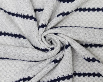 Ivory/Navy Scale Jersey Sweater Knit Fabric Style 6751