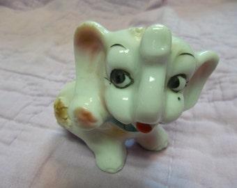 Vintage Ceramic Elephant Salt Shaker, T