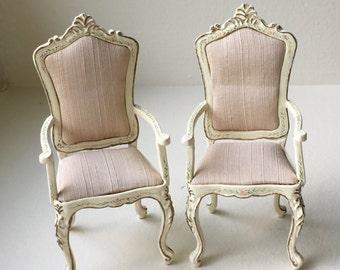 Dollhouse Miniature Bespaq Ivory Dining Room Chairs (SM)