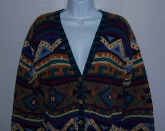 Vintage L.L. Bean Blue Green Tan Navajo Southwestern Style Cotton Cardigan Sweater Medium Jumper