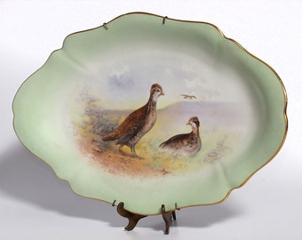 Gamebird Motif Serving Dish, 1930s