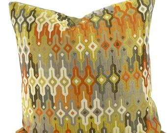 Orange, Gold, & Gray Ikat Chevron Pillow Cover, Moroccan Design Pillow Cover, Throw Pillow Cover, 18x18, 20x20, 22x22