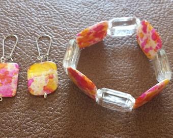 Shell beads bracelet and earrings set