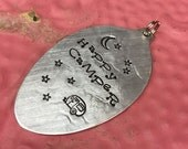 Stamped Vintage Upcycled Spoon Jewelry Pendant - Happy Camper